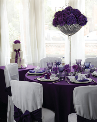 Plum purple decorations in all shades of purple are hot wedding reception accessories junglespirit Image collections